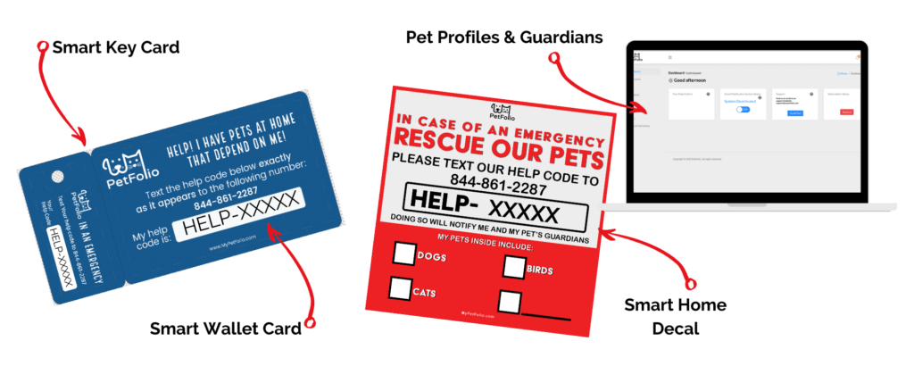 PetFolio keytag wallet card and decal